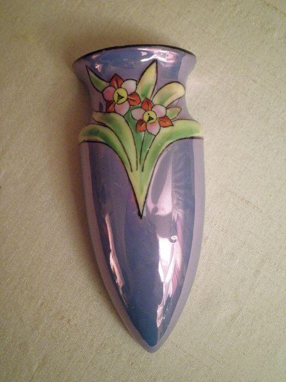 1940s Vintage Lusterware Floral Wall Bud Vase Made By Rue23vintage