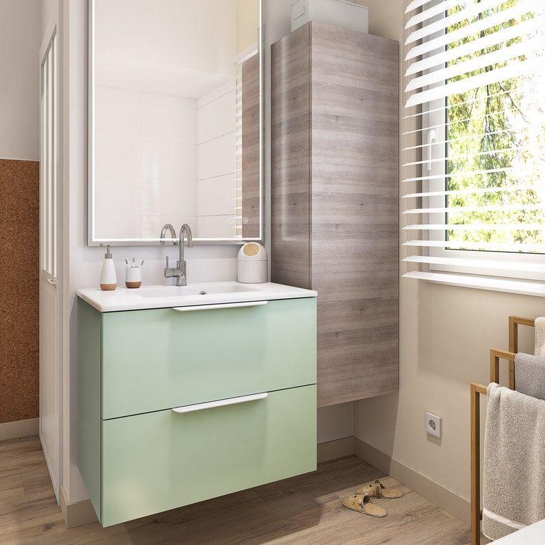 Une Salle De Bains Blanche Et Bois Pour Un Esprit Chic Et Nature Leroy Merlin Meuble Vasque Meuble Simple Decoration Interieure Luxe