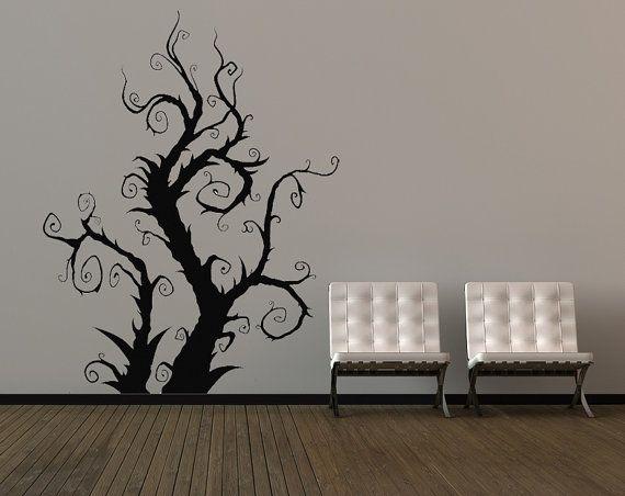 Burtonesque Tree, Swirls, Vines - Decal, Vinyl, Sticker, Home ...