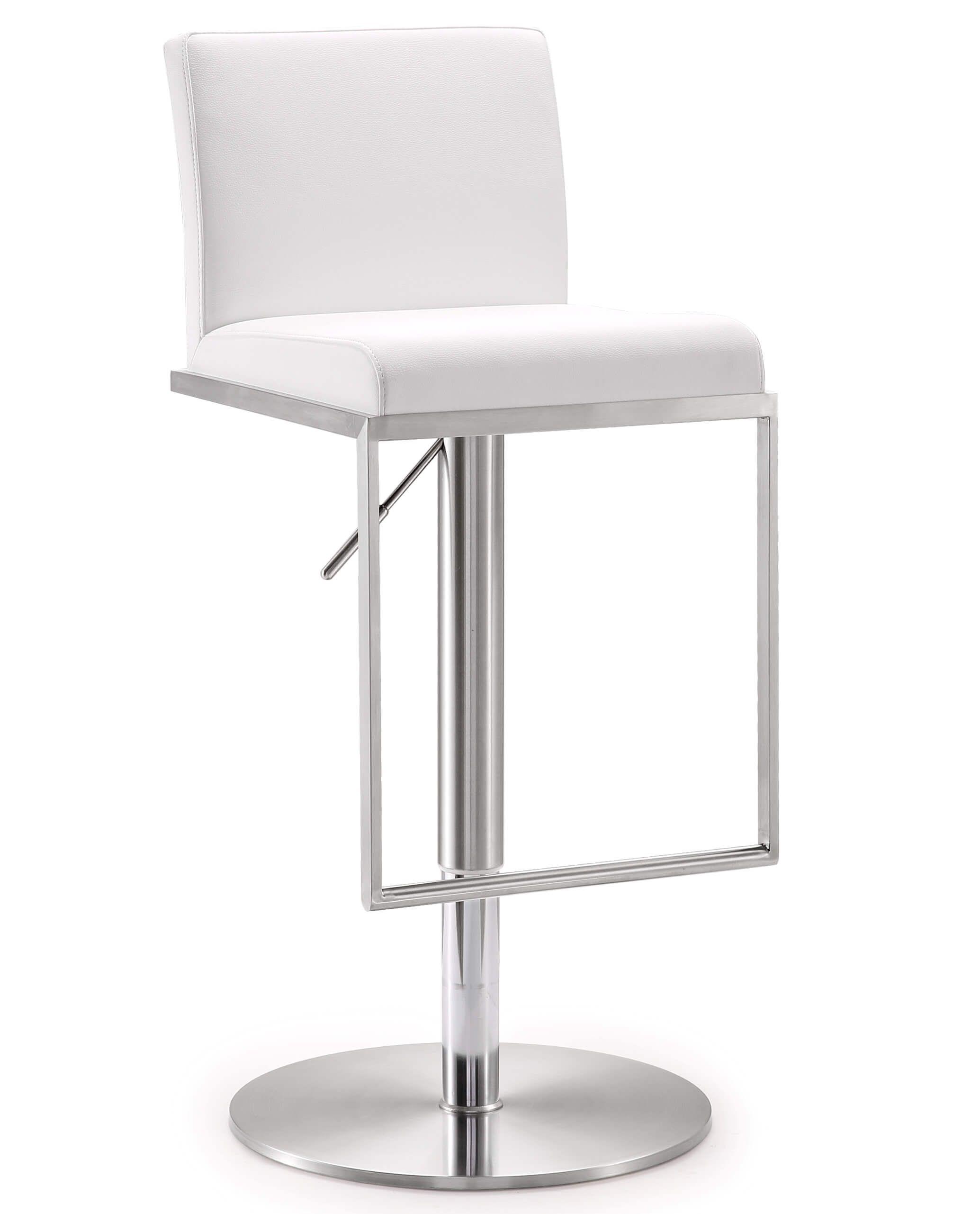 Amalfi White Stainless Steel Barstool Tov Furniture In 2021 Adjustable Bar Stools Modern Counter Stools Bar Stools