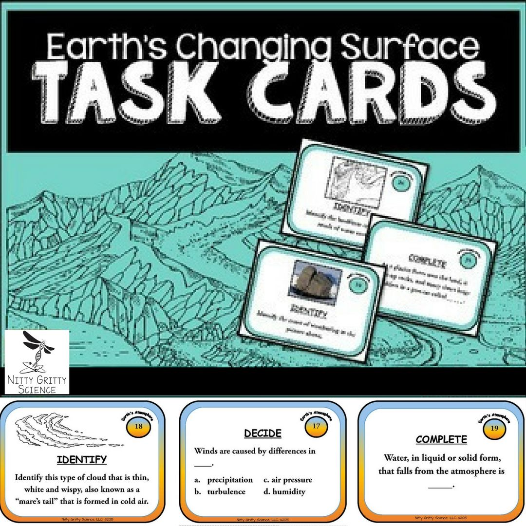 Earth S Changing Surface Earth Science Task Cards This