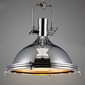 Nautical Style Single Pendant Light Litfad 15 75 Wide Lamp With Frosted Diffuser Mounted Fixture Chandelier In Chrome