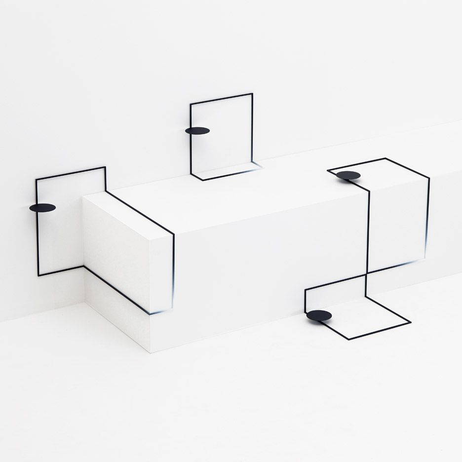 Modern Furniture Sketches nendo's border tables fit the contours of a tokyo gallery | tokyo