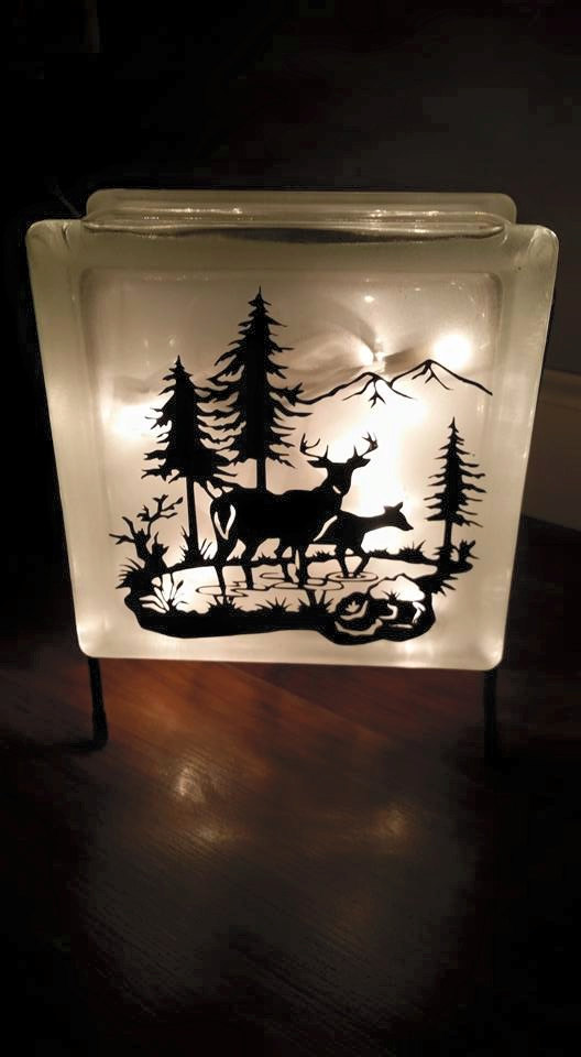 Deer Glass Block With Lights Night Light Man Cave Gift Frosted