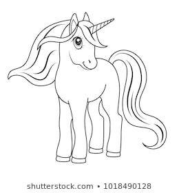 fairy-tale unicorn, skizze für farbbuch, fantasie-konzept