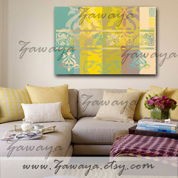 teal yellow green misty rose canvas art wall decor interior design ...