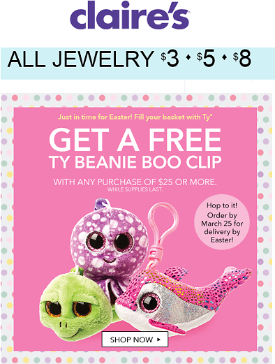 3 5  8 Jewelry  Free TY Beanie Boo Clip WP  Claires