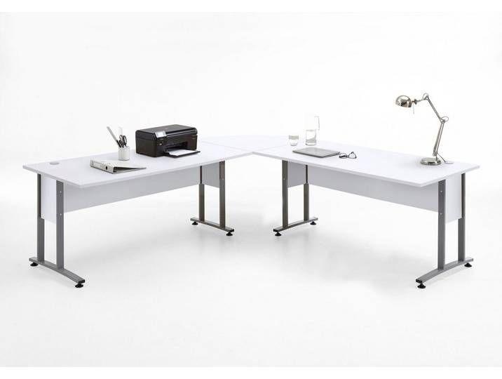 Fmd Schreibtisch Winkelkombination Calvi Grau Grau Weiss Brillant