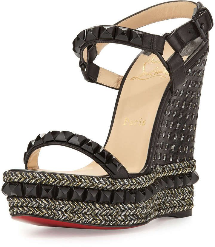 b88aee897a7 Christian Louboutin Cataclou Studded Red Sole Wedge Sandal, Black ...