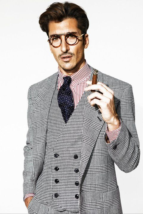 Liking the Look, Glen Plaid Suit with the Houndstooth Double Breasted Vest, Striped Shirt and Foulard Tie It All Works and Well.