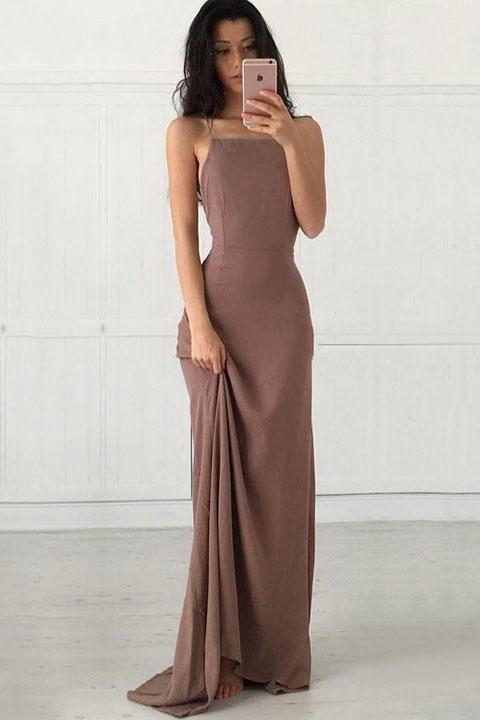 Open Back Chiffon Spaghetti Straps Criss Cross Spandex Mermaid Long Prom Dresses uk PW51