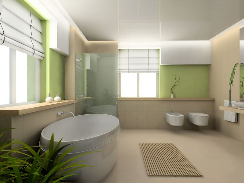 la salle de bain et la cuisine ont leur plan en bois bambou pin brut trait ou en carrelage type ardoise avec vasque en pierre reconstitue ronde ou - Deco Salle De Bain Bambou
