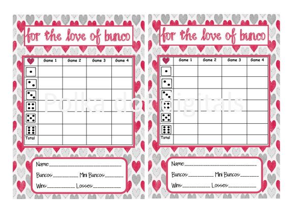 LOVE of BUNCO Valentineu0027s Complete Set Bunco by PolkaDotDigitals - bunco score sheets template