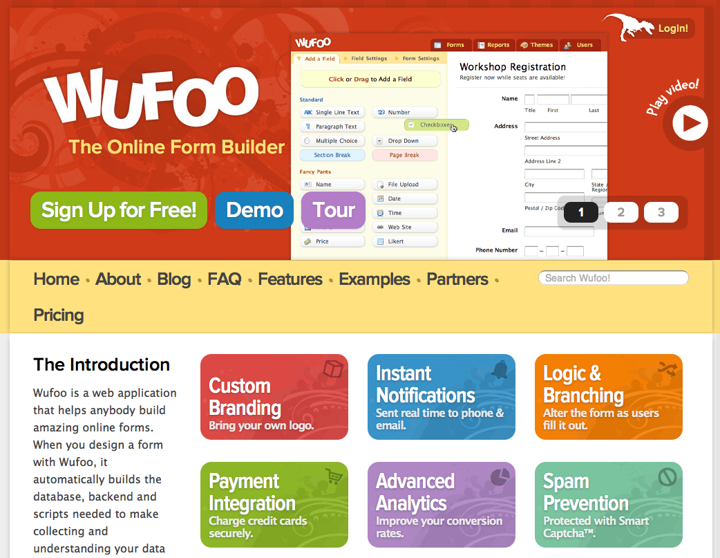 WUFOO: Build amazing online forms at Zero-cost.