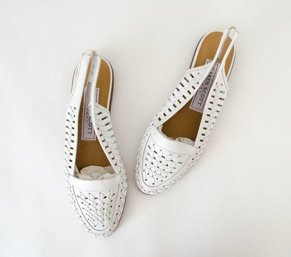 white leather flats / huaraches / woven by PoppycockVintage