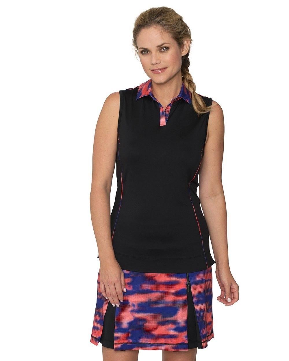 Womens Queen Sleeveless Polo Shirt - Black - C0182H8M0QX - Sports & Fitness Clothing, Women, Shirts,...