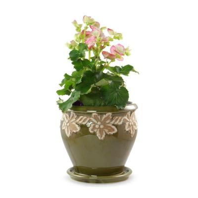 Norcal Pottery 11.75 in. Ceramic Olive Green Salinas Planter ...