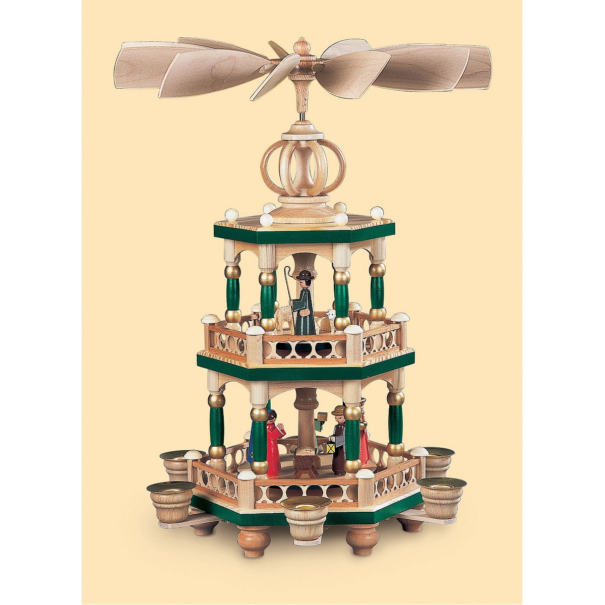 Christmas decoration with candles that spins - German Christmas Pyramid Christmas Story Height 42 Cm 17 Inch Hand Painted Original Erzgebirge By Mueller Seiffen From M Ller Seiffen