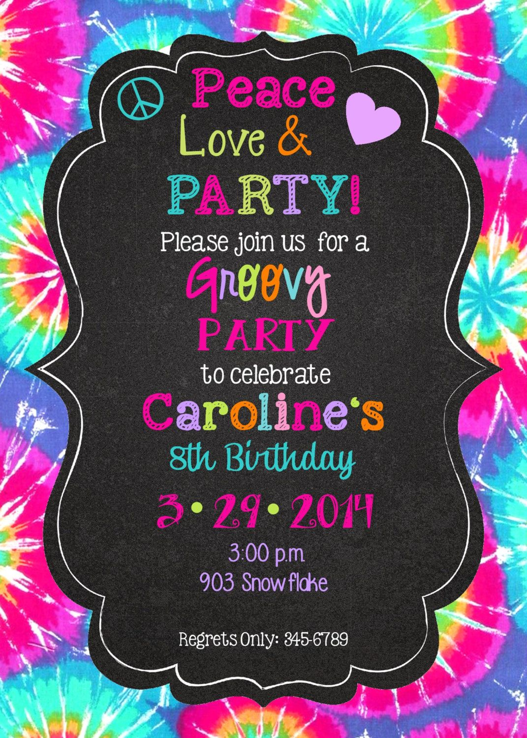 Peace Love Party Birthday invitations printable or digital file- Tie ...