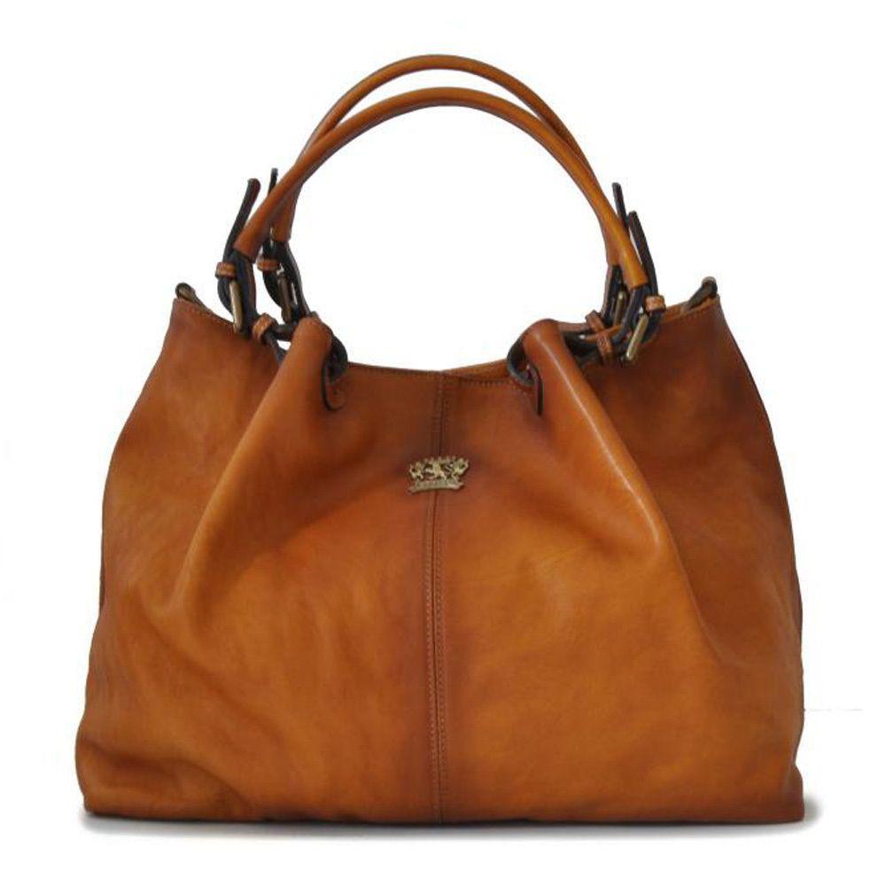 e5d96768cd Attavanti - Pratesi Italian Aged Leather Bucket Hobo Handbag - Tan ...