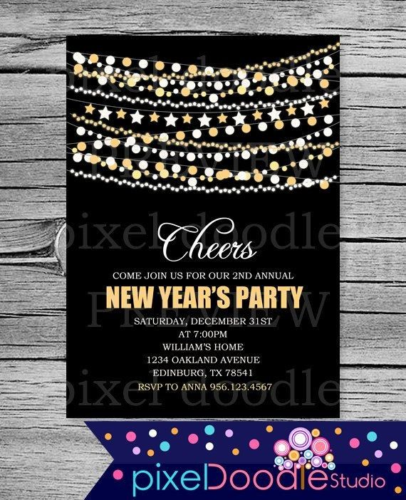 digital printable new years eve invitation card for 2015 new years party star garland polka dot garland 2015 new years eve