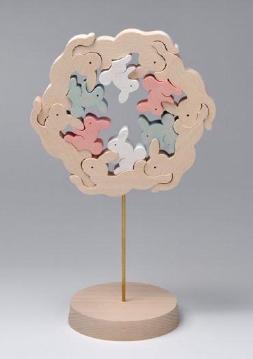 組み木 木のおもちゃ 『遊プラン』 KA925 | 跳べ!おんぶウサギ・6組・S