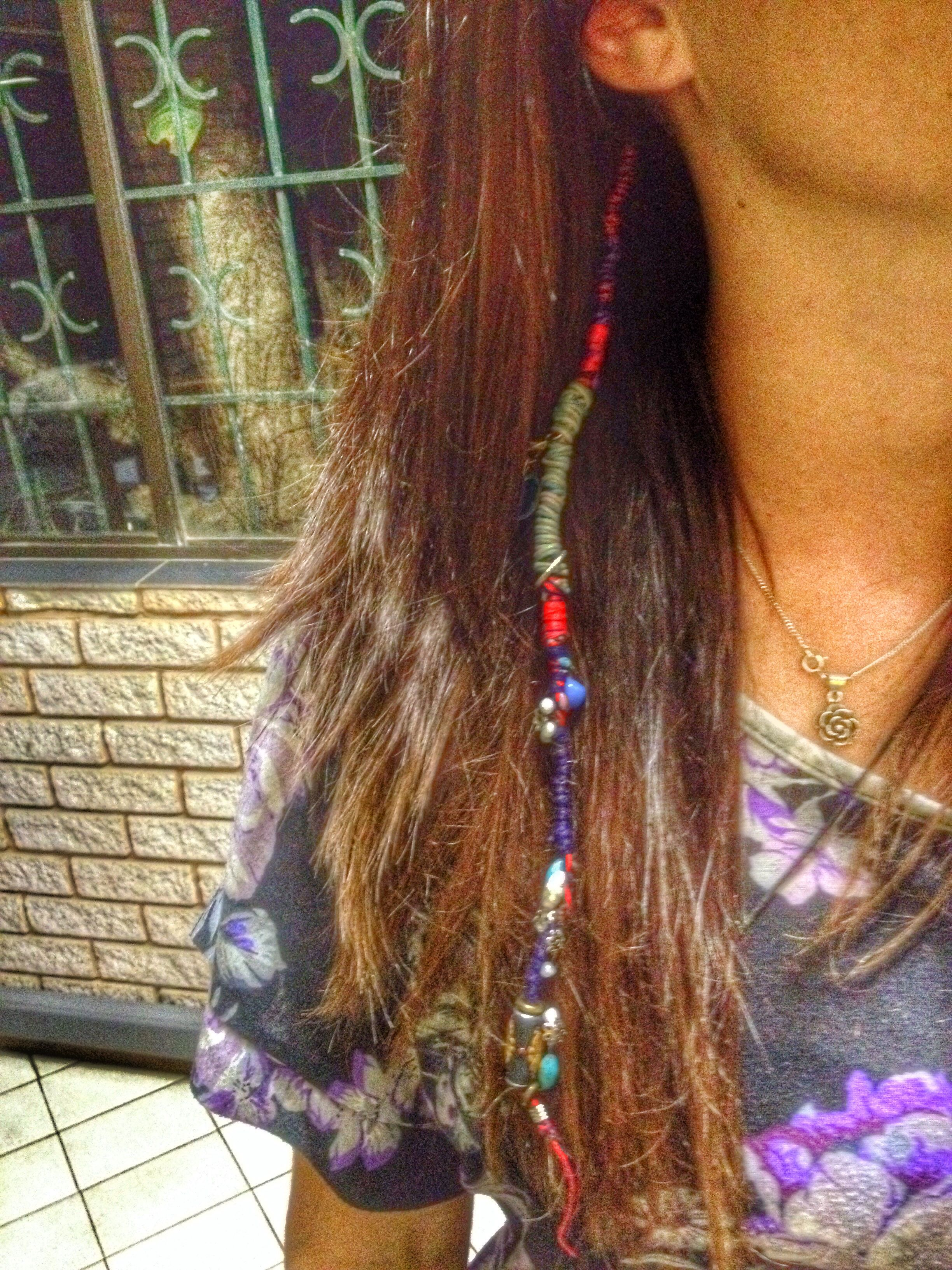 Hair Wrap Thread Diy Hair Wrap Beads Hippy Boho Hair Ideas Braid Hair Wrap Diy Diy Hairstyles Hair Wrap
