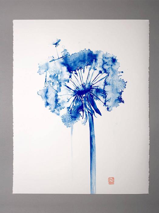 Peinture Aquarelle De Pissenlit Bleu Decoration Marine Affiche