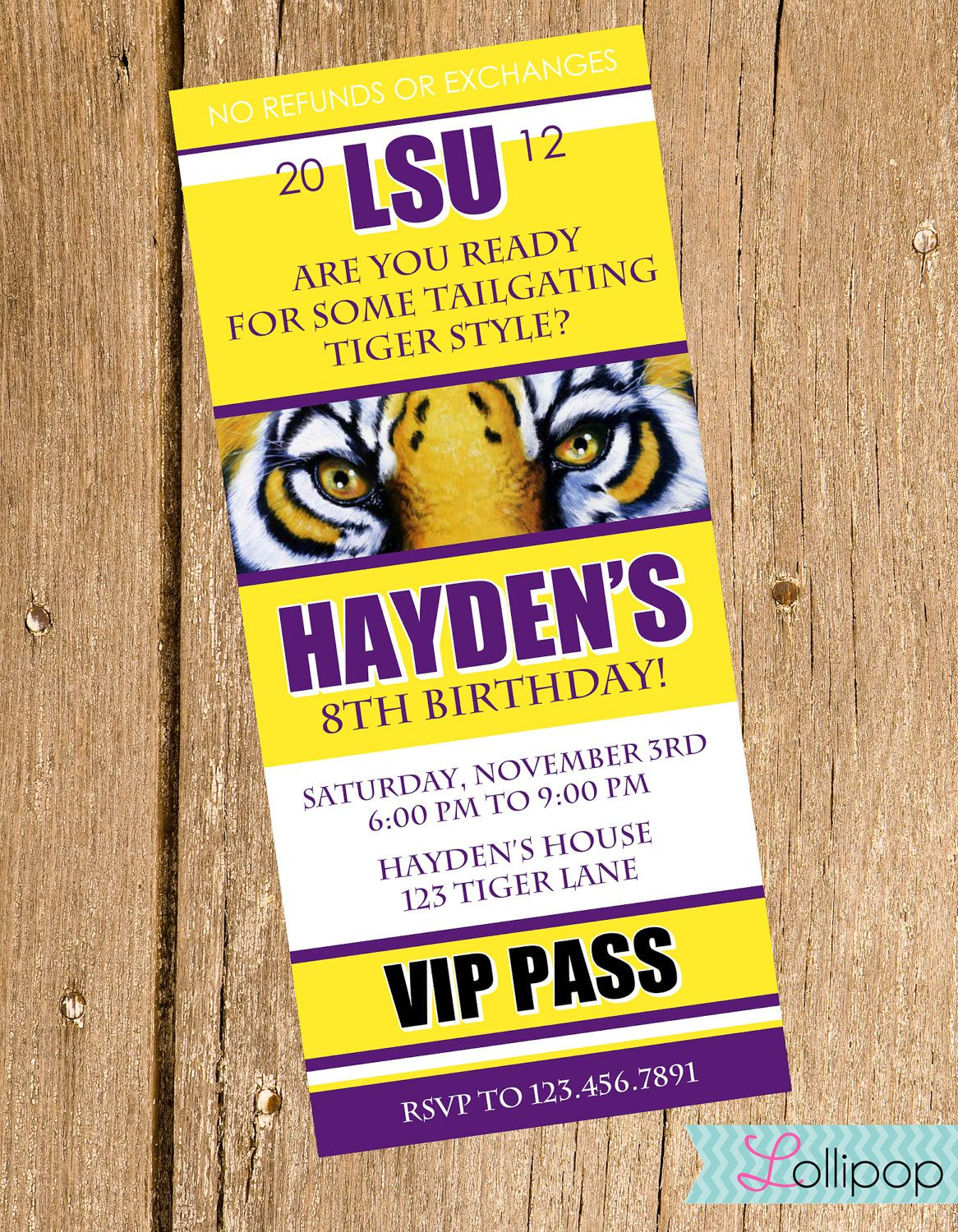 LSU Tailgating Birthday Party Invitations, Ticket Style Printable ...
