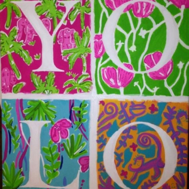 Hand painted Lilly Pulitzer YOLO