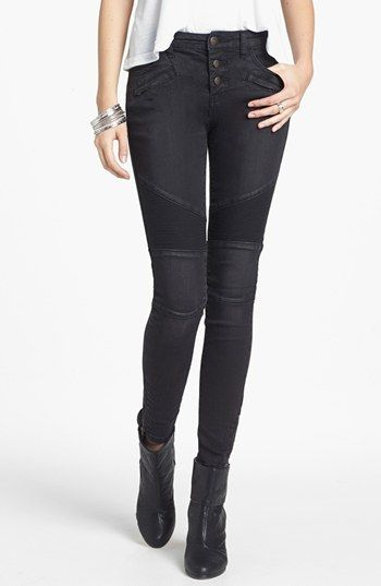 b069860b06a Free People Seamed Moto Skinny Jeans (Moonlight) stitch seam detailing  around the knees and at the back of the waist. Two front hip pockets and  two front ...