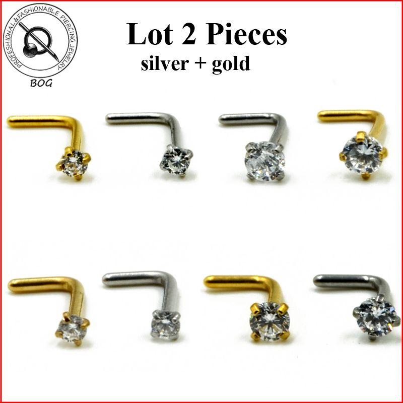 Lote 2 Unidades Estudios Nariz Anillo en La Nariz Piercing Anodizado Oro en Forma de L con Grapas 2mm, 3mm de Circón Joyería de la nariz 20g 18g