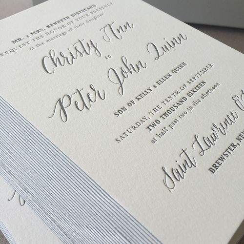 Gray Inj With Silver Edge Painted Letterpress Wedding Invitations On 220 Lettra