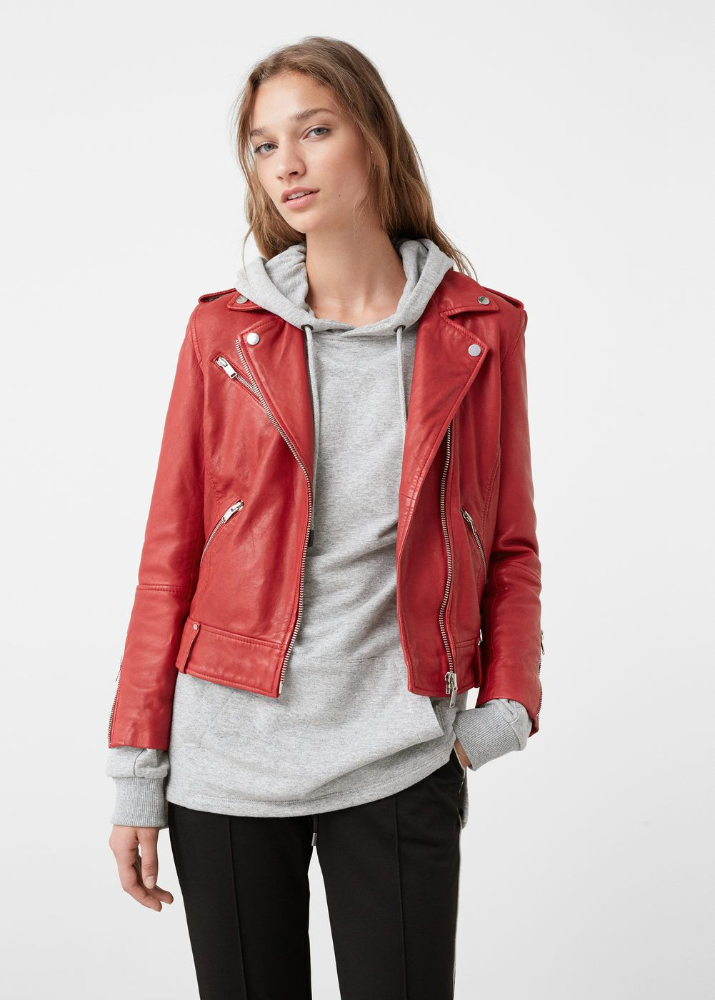 a824facc Leather biker jacket - Jackets for Women | MANGO USA Cazadora Cuero,  Suéteres Negros,