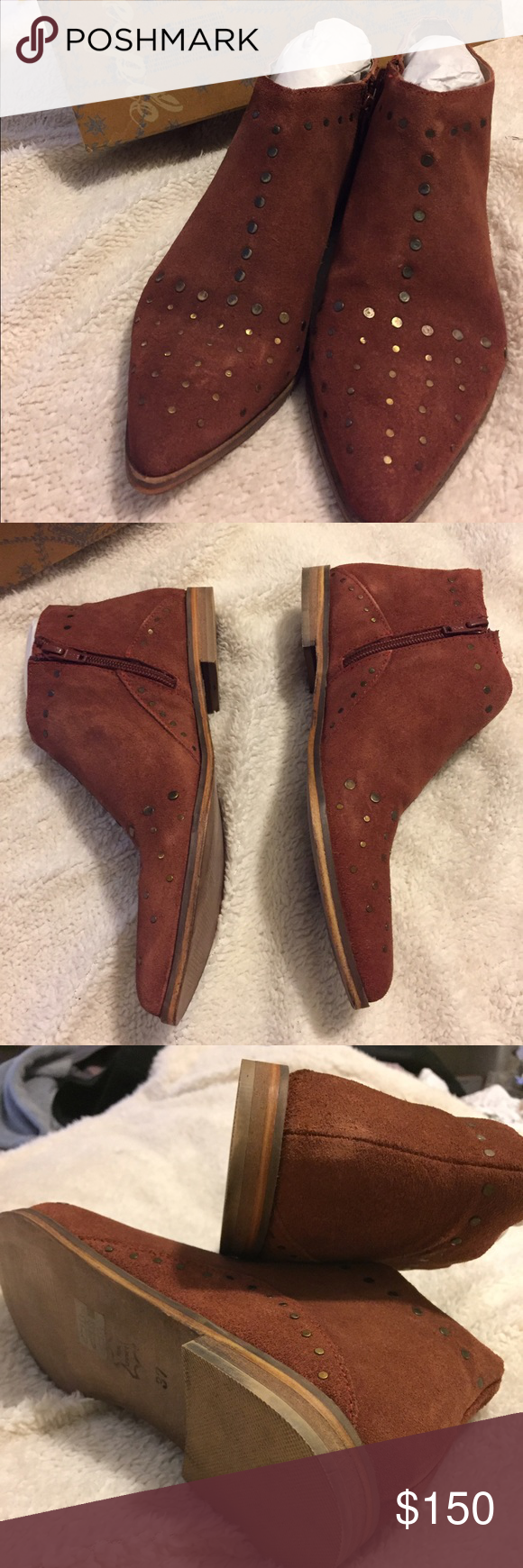 Free People studded ankle boots Brand new ankle booties with red vegan suede, distressed studs, inner side zipper, and pointed toe. Retail: $168.  ❤ Love the item but not the price? Make an offer on a single item or a bundle! Free People Shoes Ankle Boots & Booties