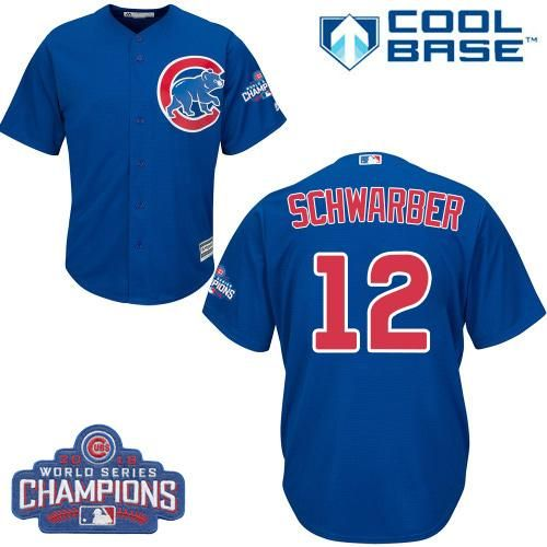cubs 12 kyle schwarber blue alternate 2016 world series champions stitched youth mlb jersey