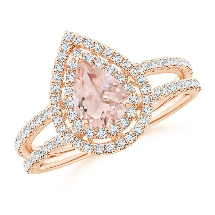Angara Vintage Style Double Halo Oval Morganite Ring 1WC8v2juX