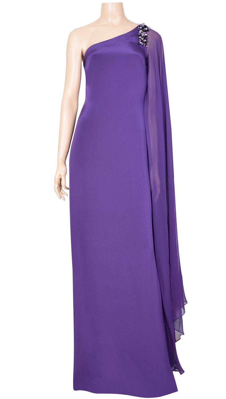 Vestido largo asimétrico morado con pedrería Precio de compra: 1280 ...