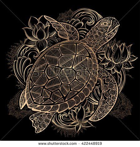 gold vector hand drawn sea turtle and lotus flowers on black background