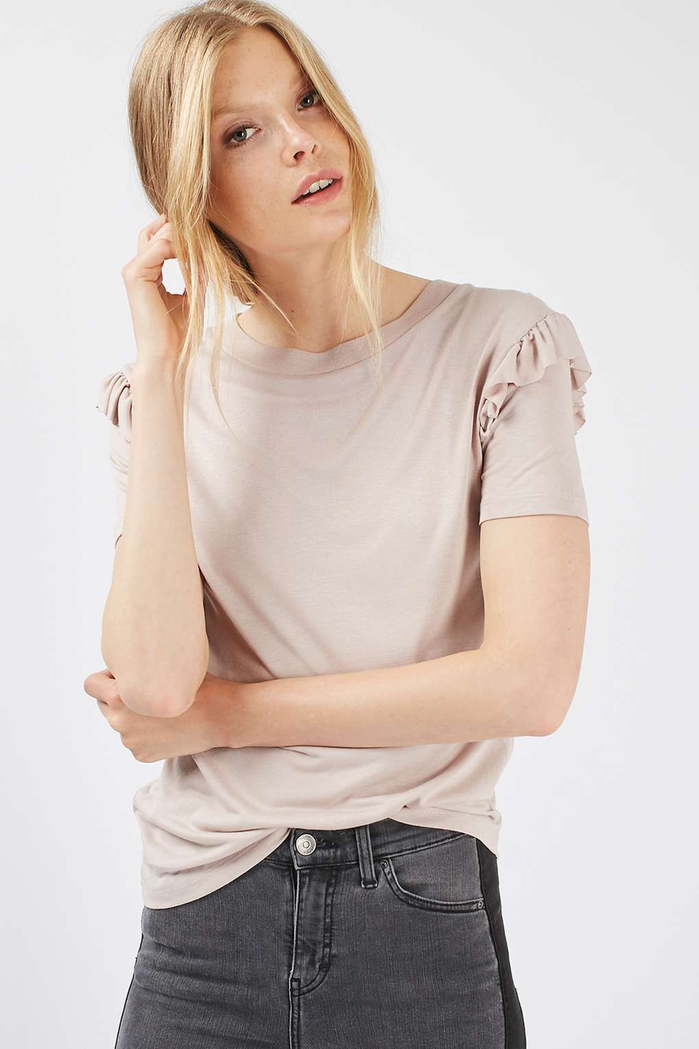 PETITE Double Frill Sleeve T-Shirt - Tops - Clothing - Topshop Europe