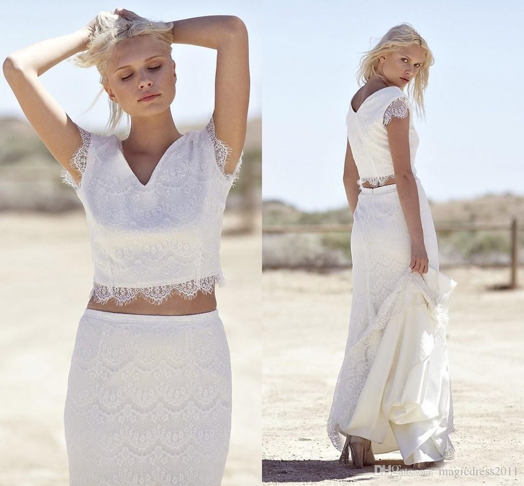 two pieces lace sheath beach bohemian wedding dresses vneck