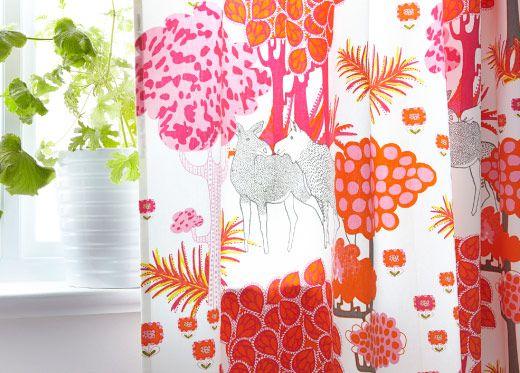 Til gardiner? ÄLGÖRT fabric with moose and tree print.