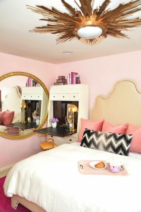 Secretary As Bedside Table Gilded Sunburst Light Pink Wall To - Light pink and black bedroom