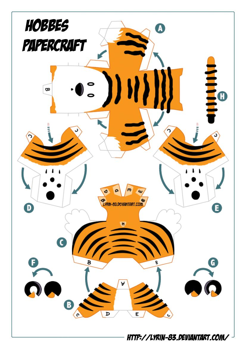 Calvin and Hobbes, Paper Hobbes Template | Paper Toy