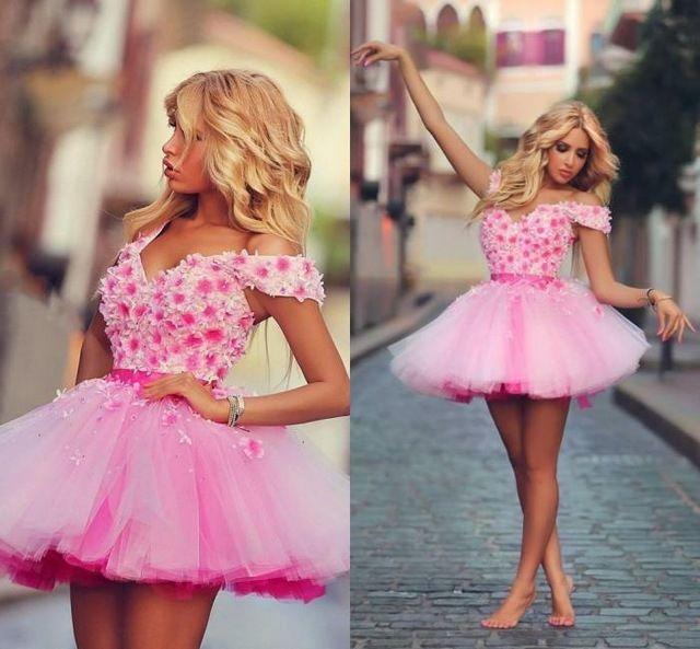 2015 pink corto minI cóctel dress flores bata de pelota cremallera ...