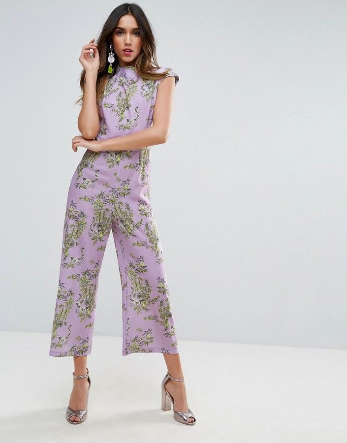 a9800f1a53 Asos Jumpsuit With High Neck And Wide Leg In Print
