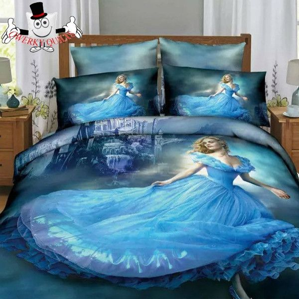 Cinderella Kids Cartoon Bedding Set And Quilt Cover 3pcs Or 4pcs Size Range Twin To