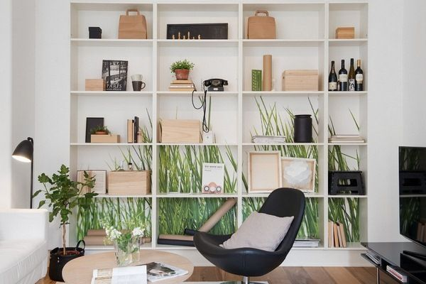 scandinavian dcor ideas leather armchair bookshelf ideas - Design Ideas For Home