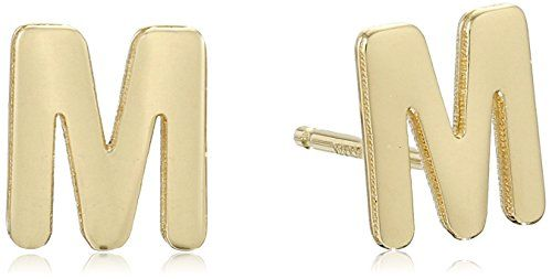 """14k Yellow Gold Polished Teeny Tiny Initial """"M"""" Stud Earrings #deals"""