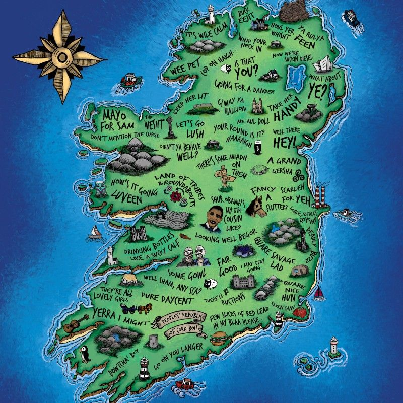 Illustrated Map of Irish Sayings #handdrawn #illustration ...